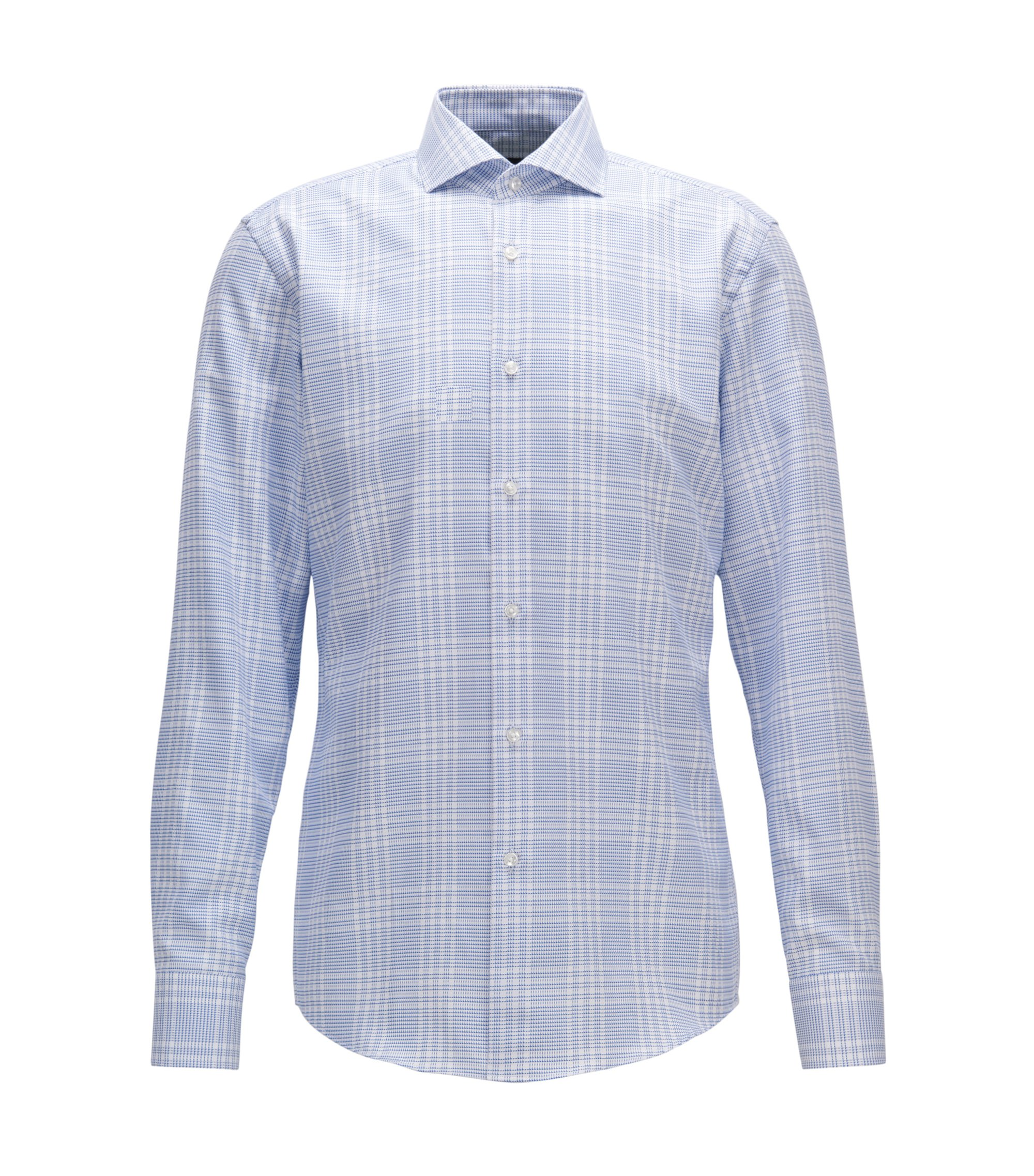 Windowpane Cotton Dress Shirt, Slim Fit | Jason, Blue