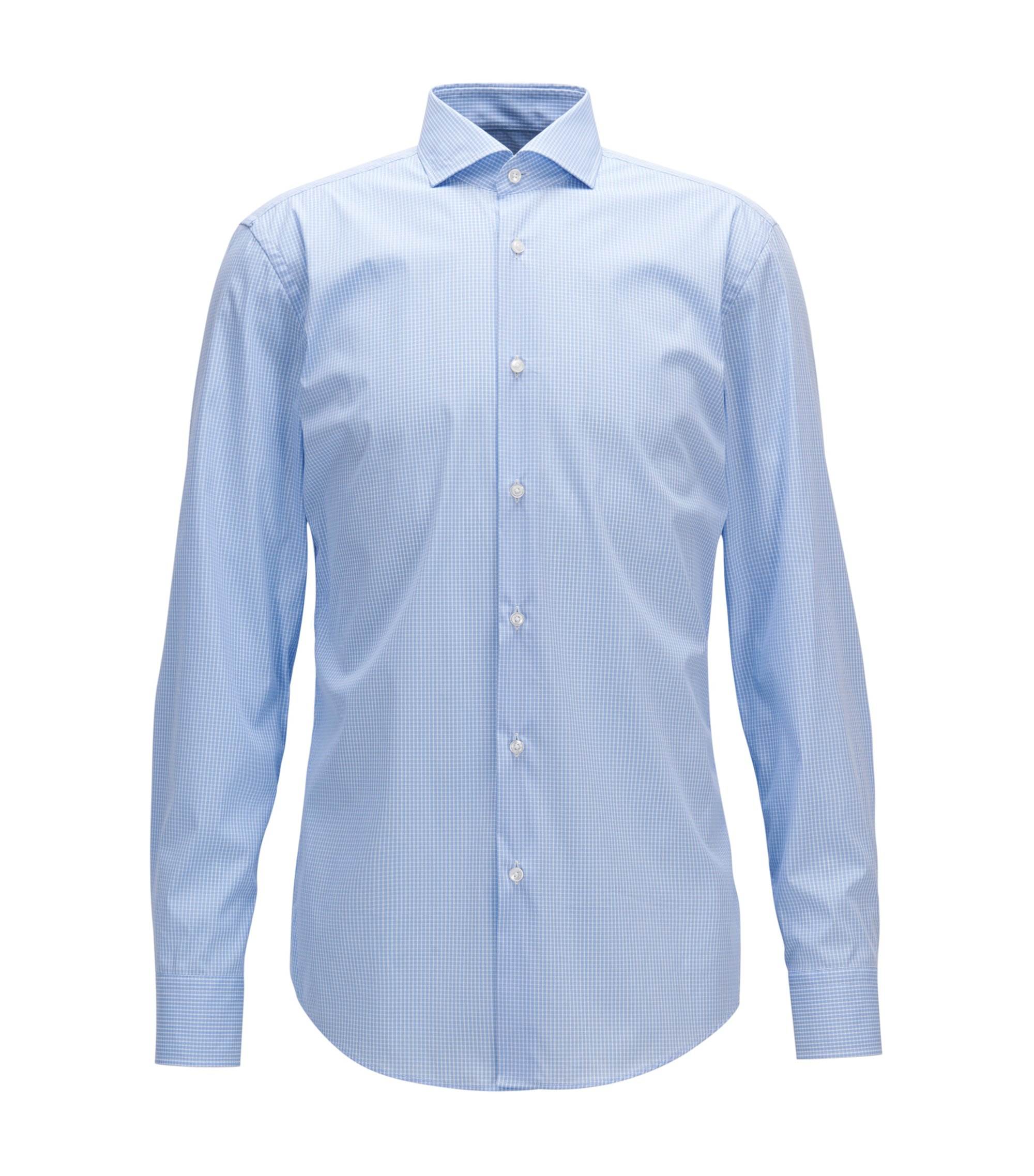 Checked Stretch Cotton Dress Shirt, Slim Fit | Jason, Light Blue