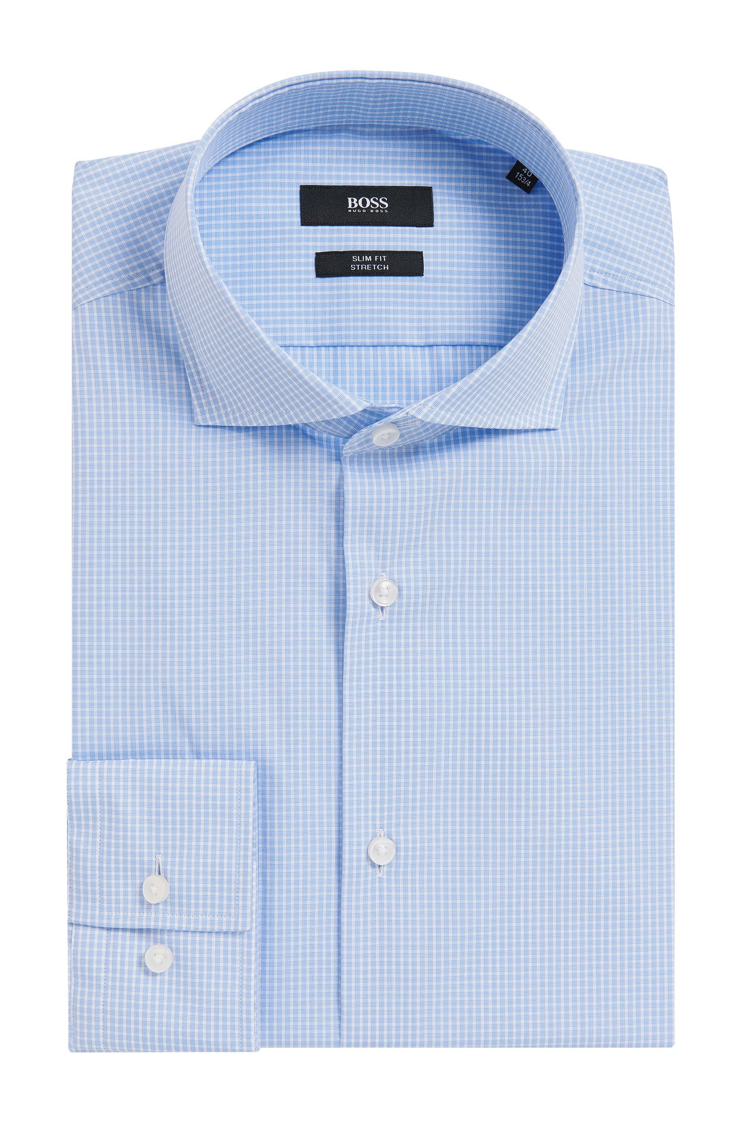 Checked Stretch Cotton Dress Shirt, Slim Fit | Jason