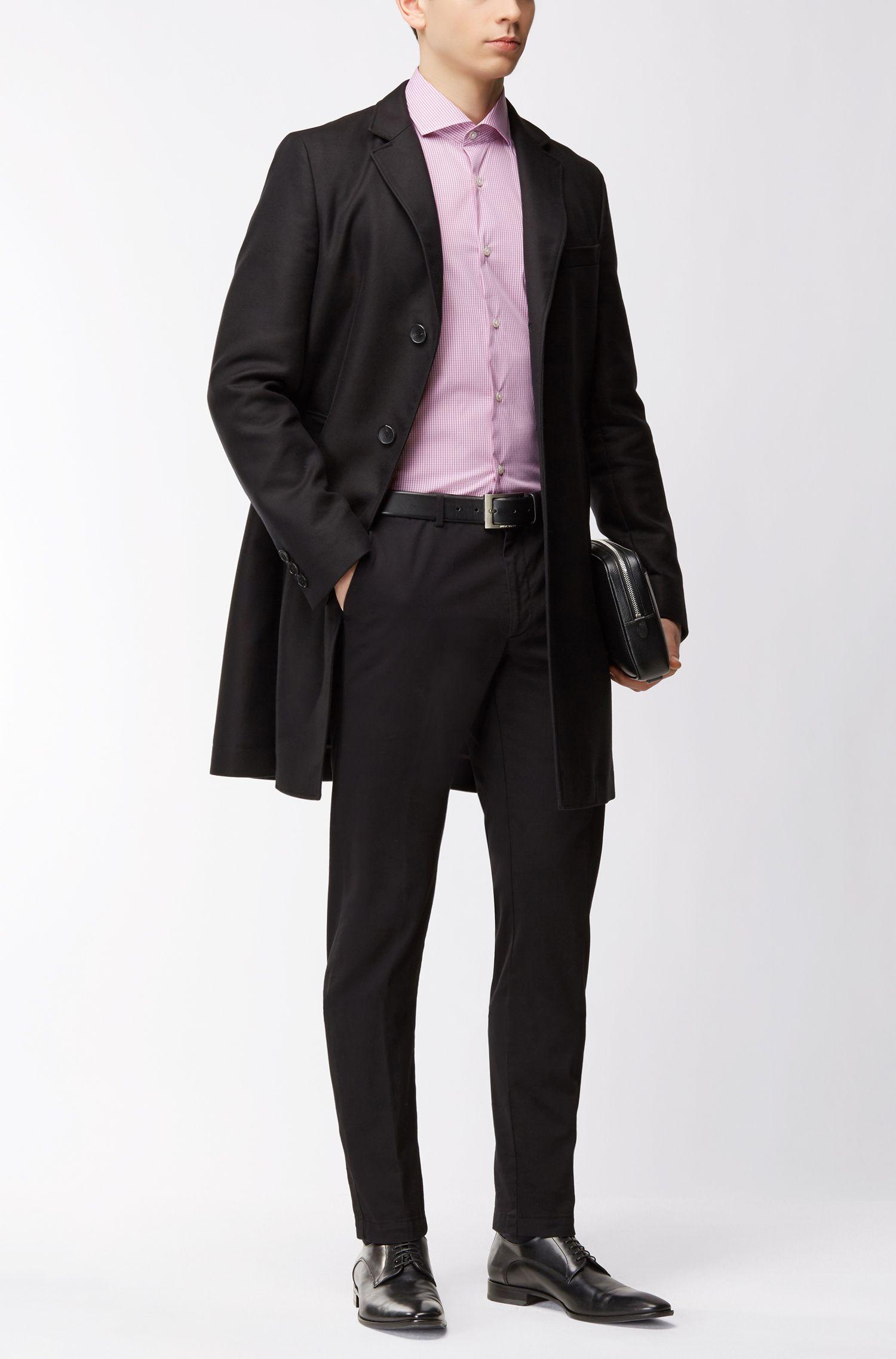 Checked Stretch Cotton Dress Shirt, Slim Fit | Jason, Dark pink