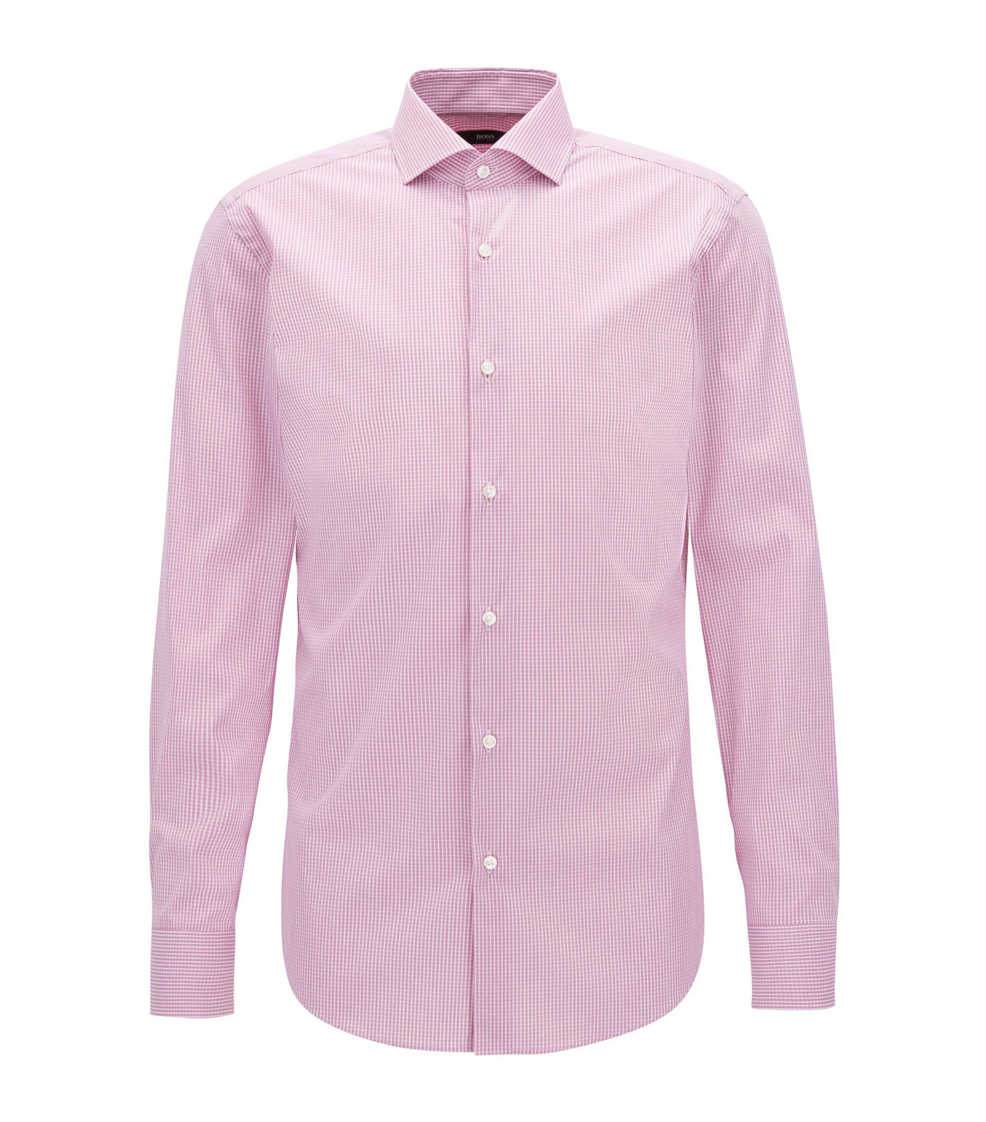 Checked Stretch Cotton Dress Shirt, Slim Fit   Jason, Dark pink