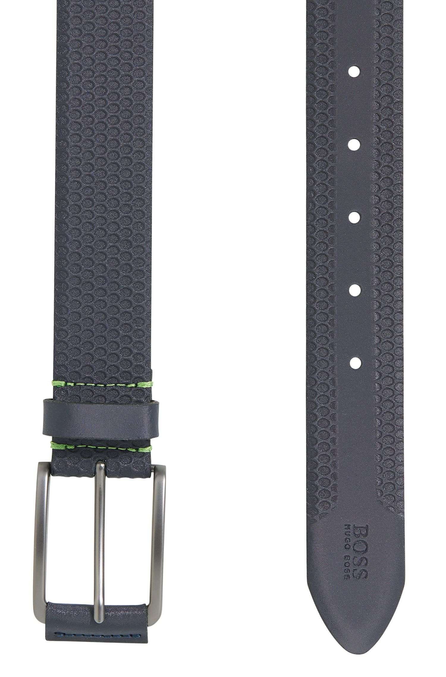Debossed Leather Belt | Tosco Sz35, Dark Blue