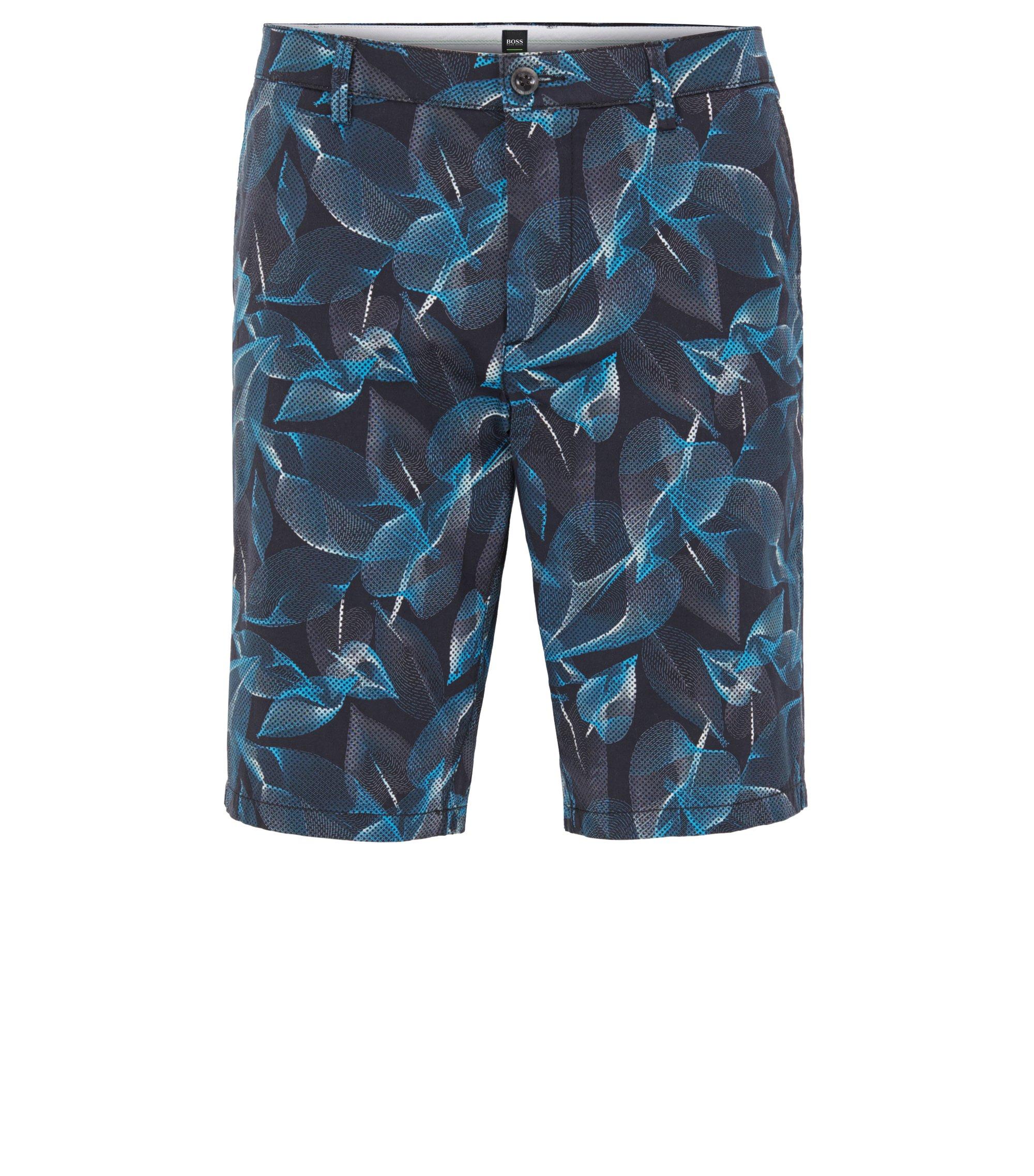 Printed Sateen Stretch Cotton Short, Slim Fit   Liem Print W, Open Blue