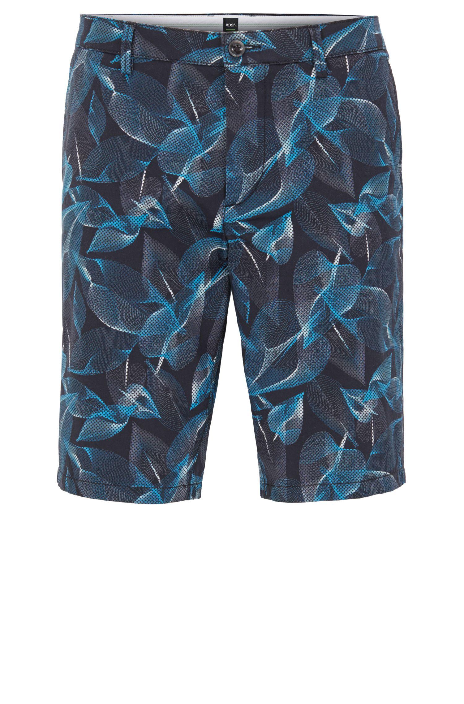 Printed Sateen Stretch Cotton Short, Slim Fit | Liem Print W, Open Blue