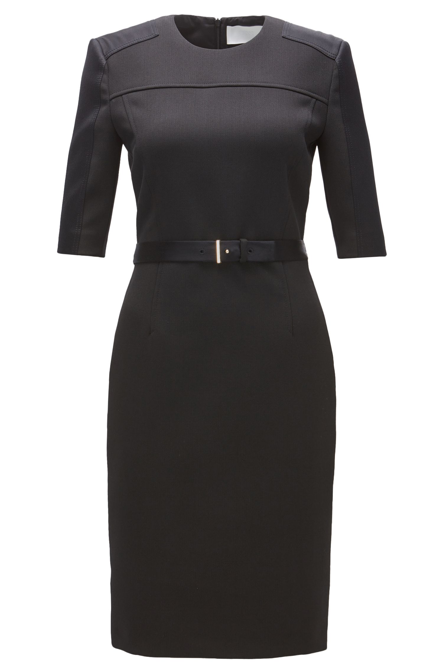 Belted Stretch Sheath Dress | Dakulia