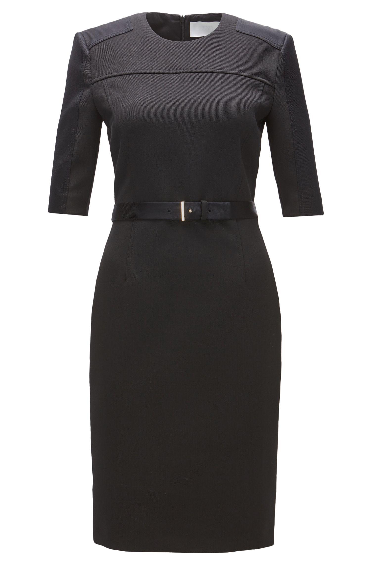 Belted Stretch Sheath Dress | Dakulia