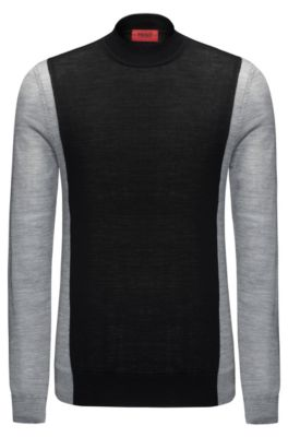 Colorblocked Stretch Virgin Wool Sweater | Seito, Grey