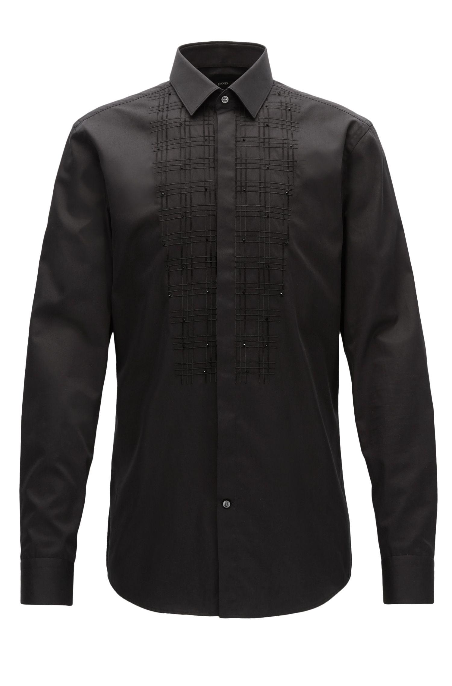 Embellished Tuxedo Bib Dress Shirt, | Jeffry