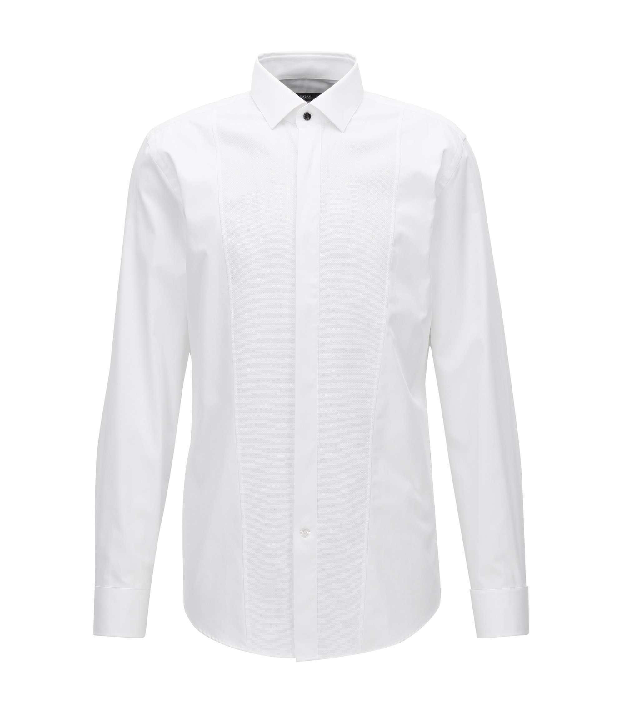 Dobby Bib Tuxedo Shirt, Slim Fit | Jarome, White