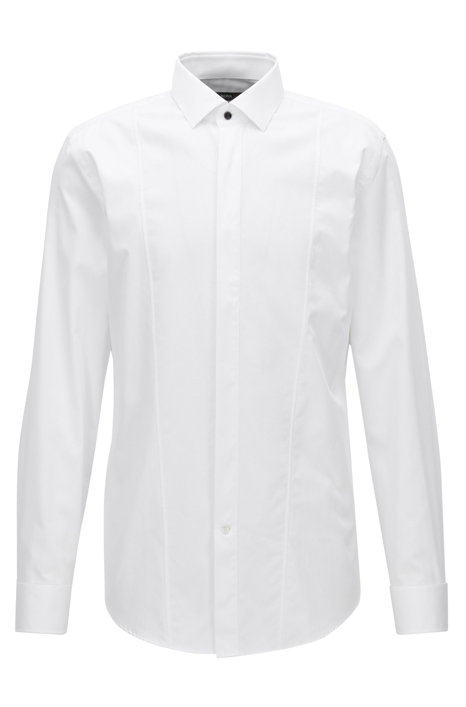 Dobby Bib Tuxedo Shirt, Slim Fit | Jarome, White