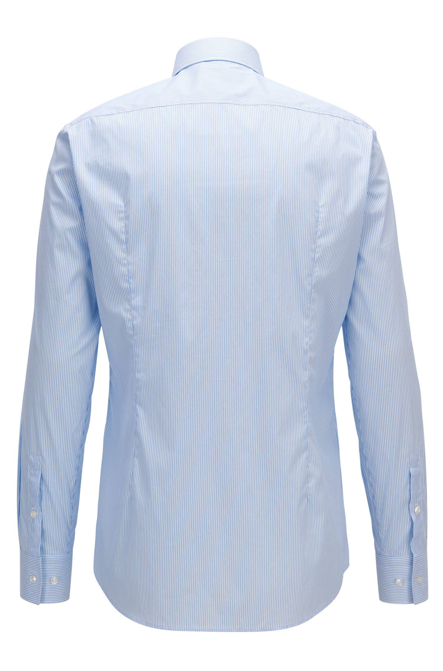 Pinstriped Stretch Cotton Dress Shirt, Slim Fit |  Jenno
