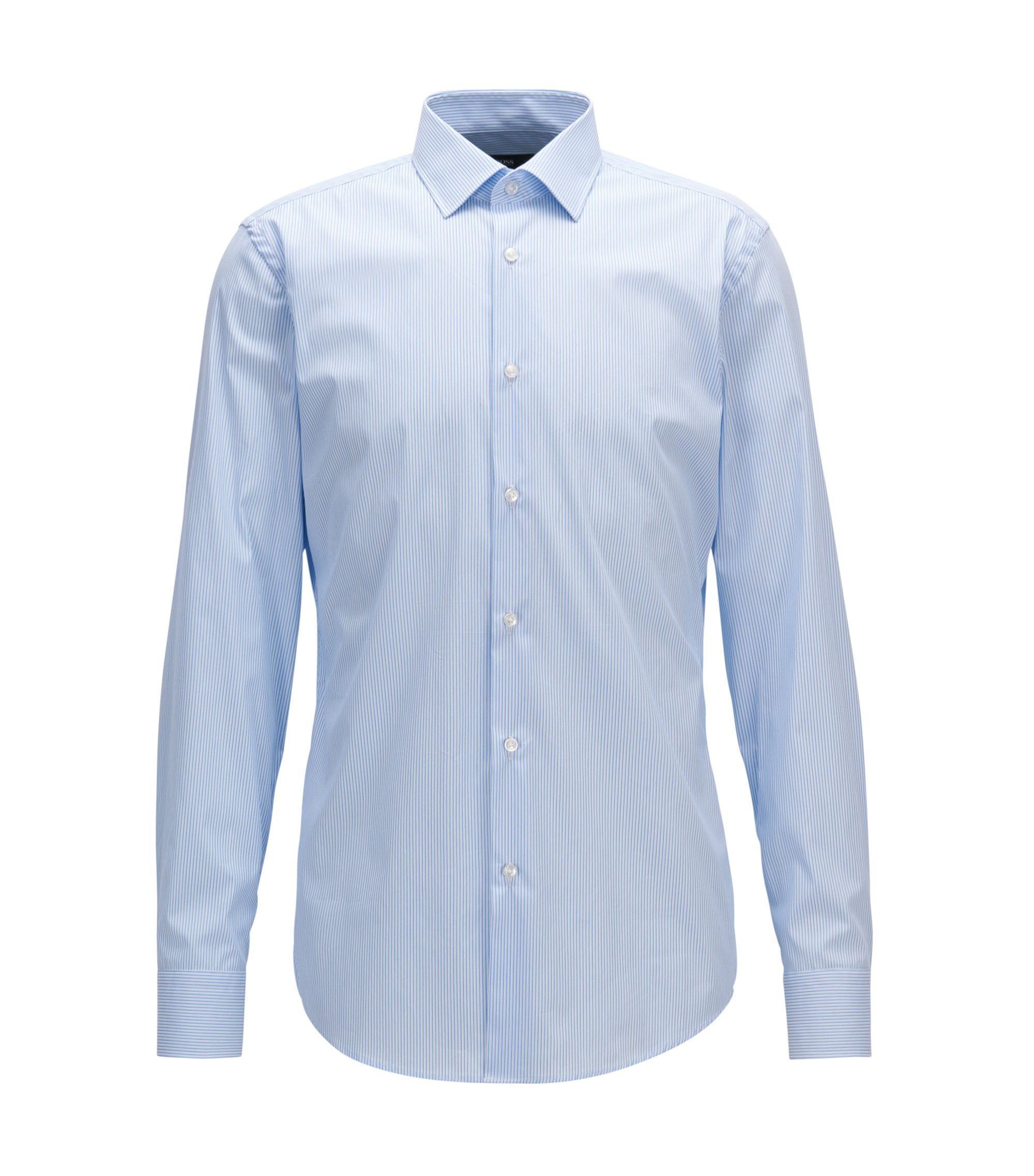 Pinstriped Stretch Cotton Dress Shirt, Slim Fit |  Jenno, Light Blue