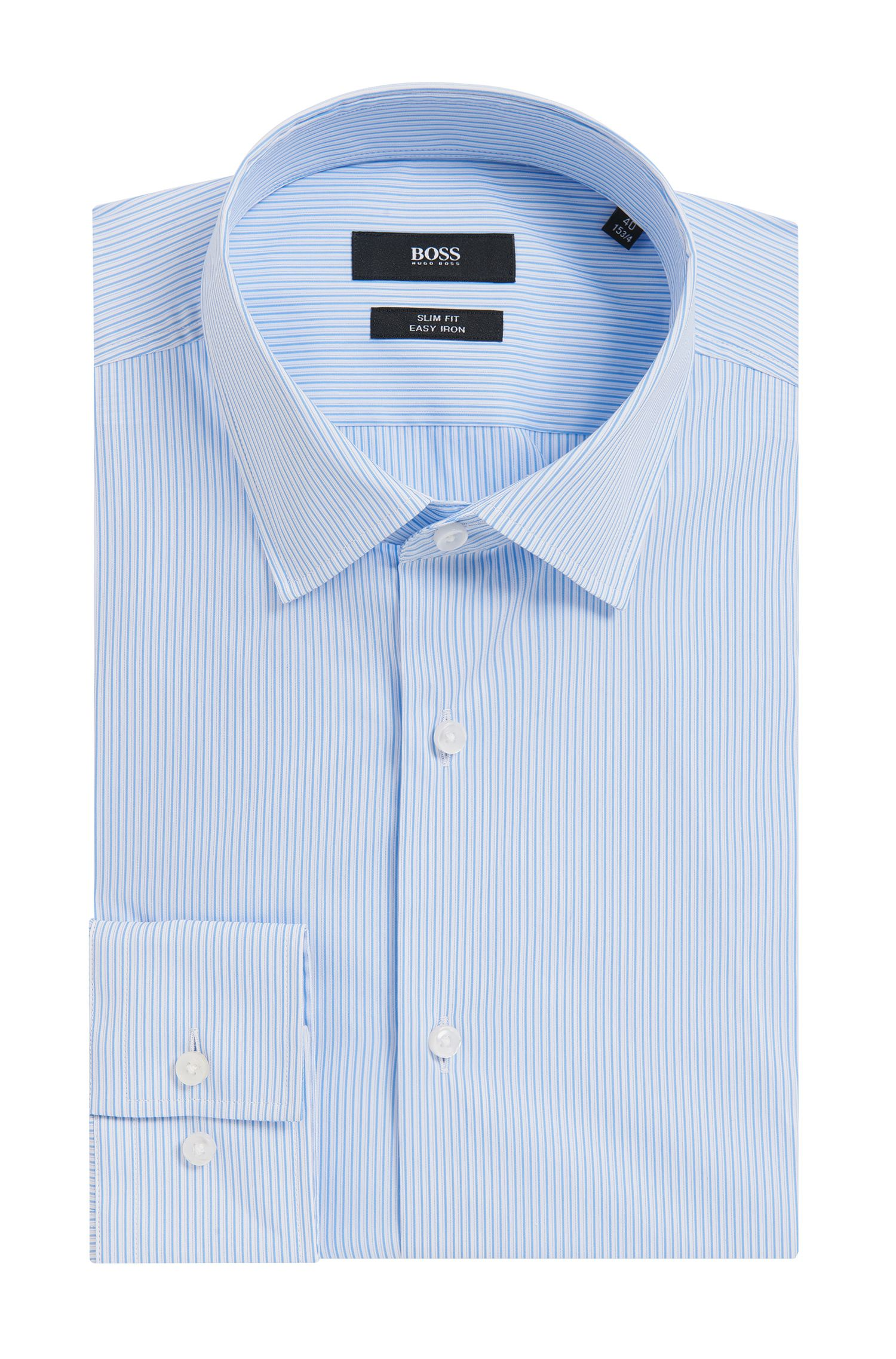 Pinstriped Stretch Cotton Dress Shirt, Slim Fit |  Jenno, Light Blue