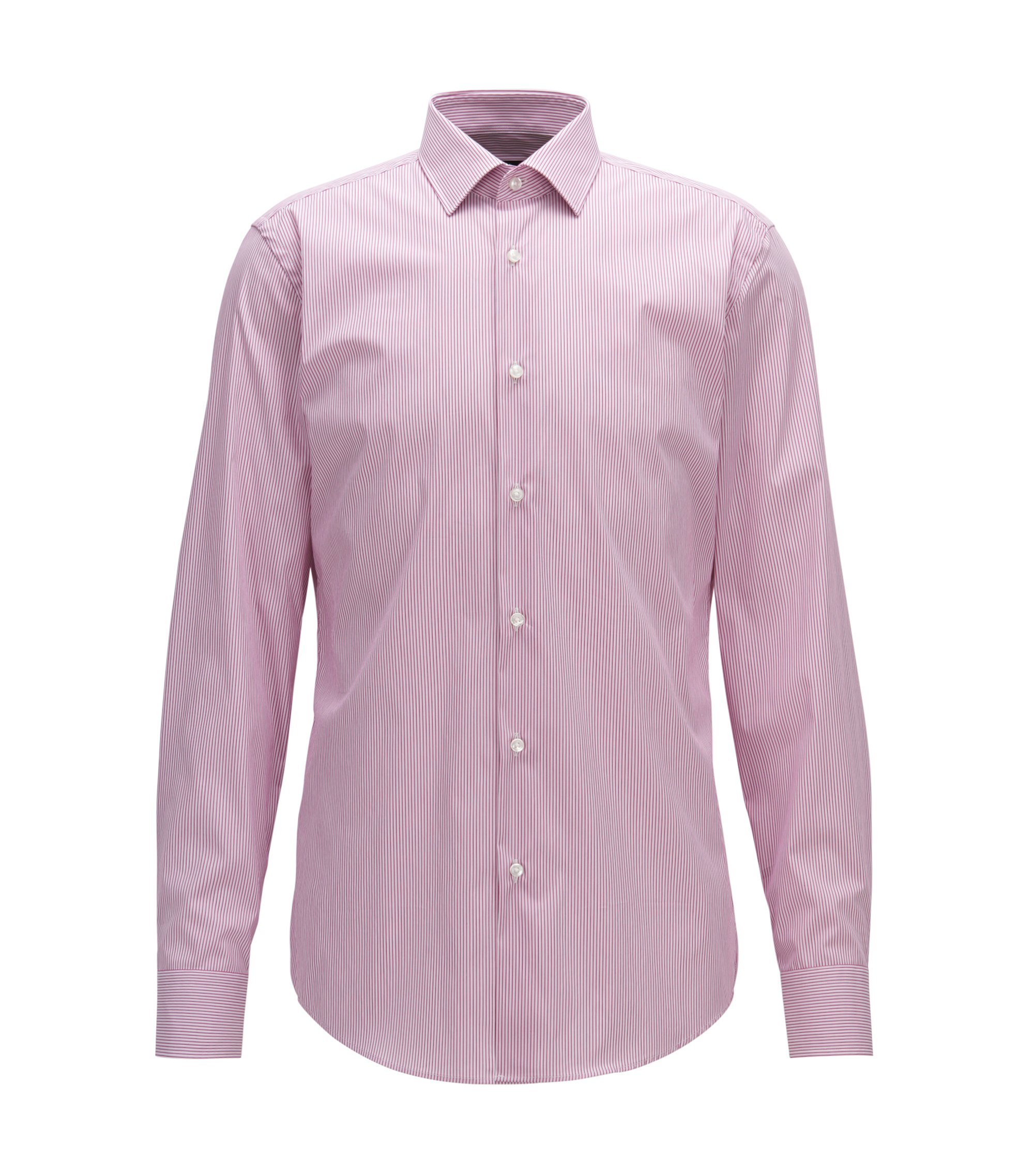 Pinstriped Stretch Cotton Dress Shirt, Slim Fit |  Jenno, Dark pink