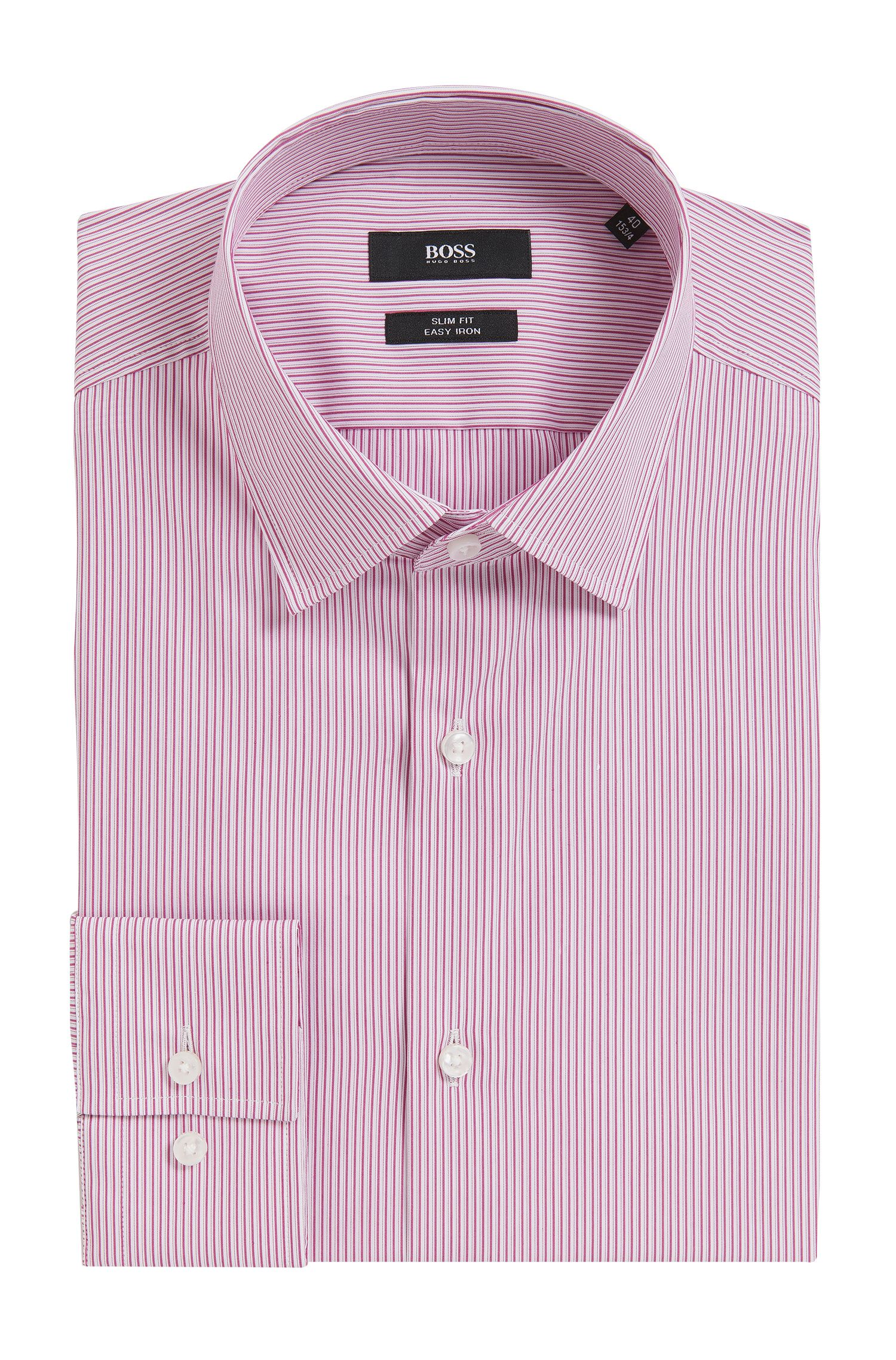 Pinstriped Stretch Cotton Dress Shirt, Slim Fit |  Jenno