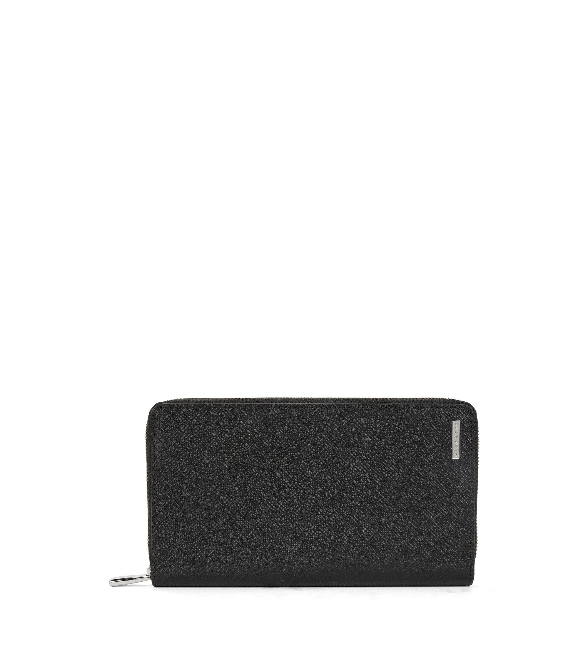 Leather Zip-Around Wallet | Signature S Zip, Black
