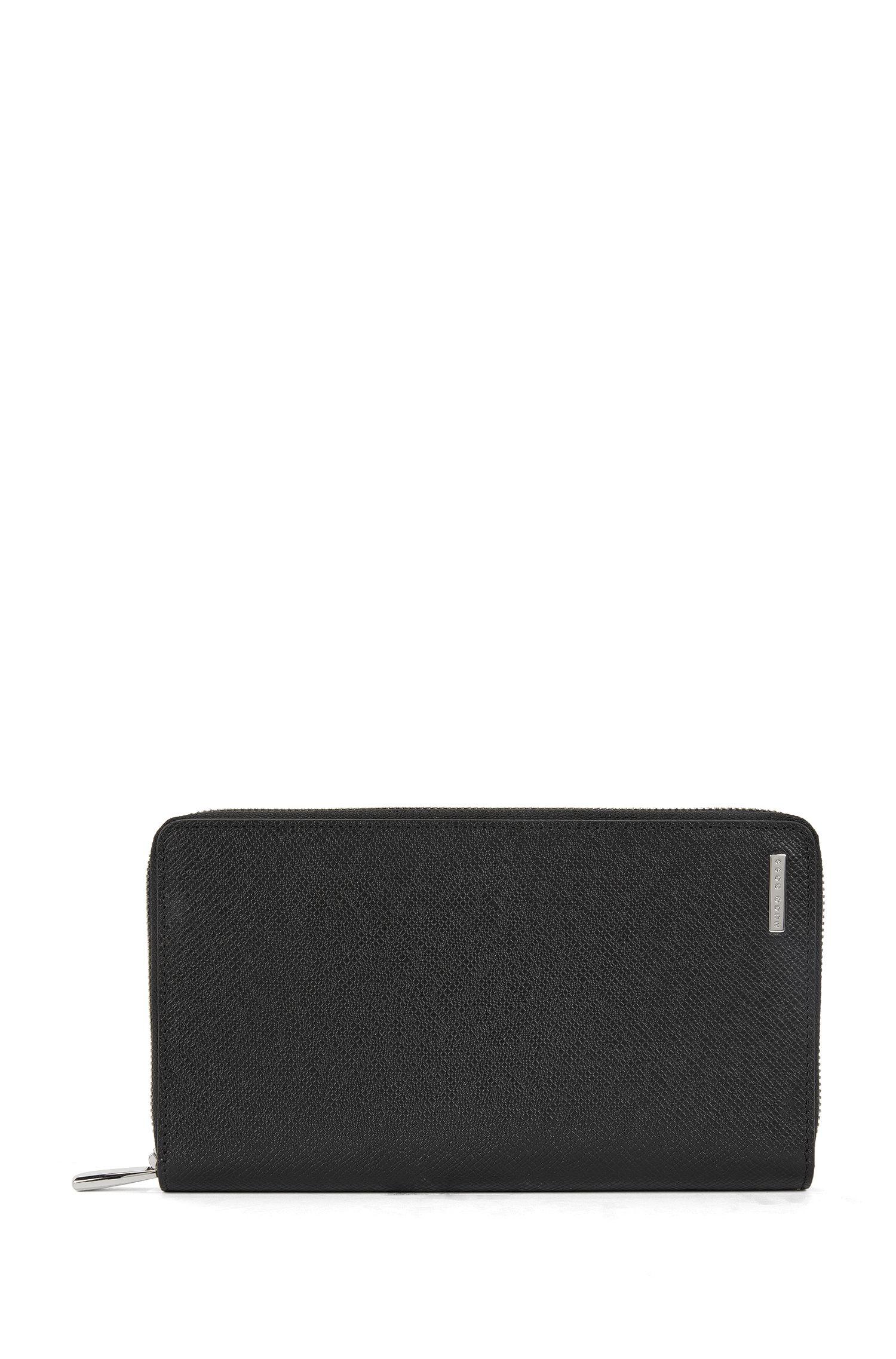 Leather Zip-Around Wallet | Signature S Zip, Black