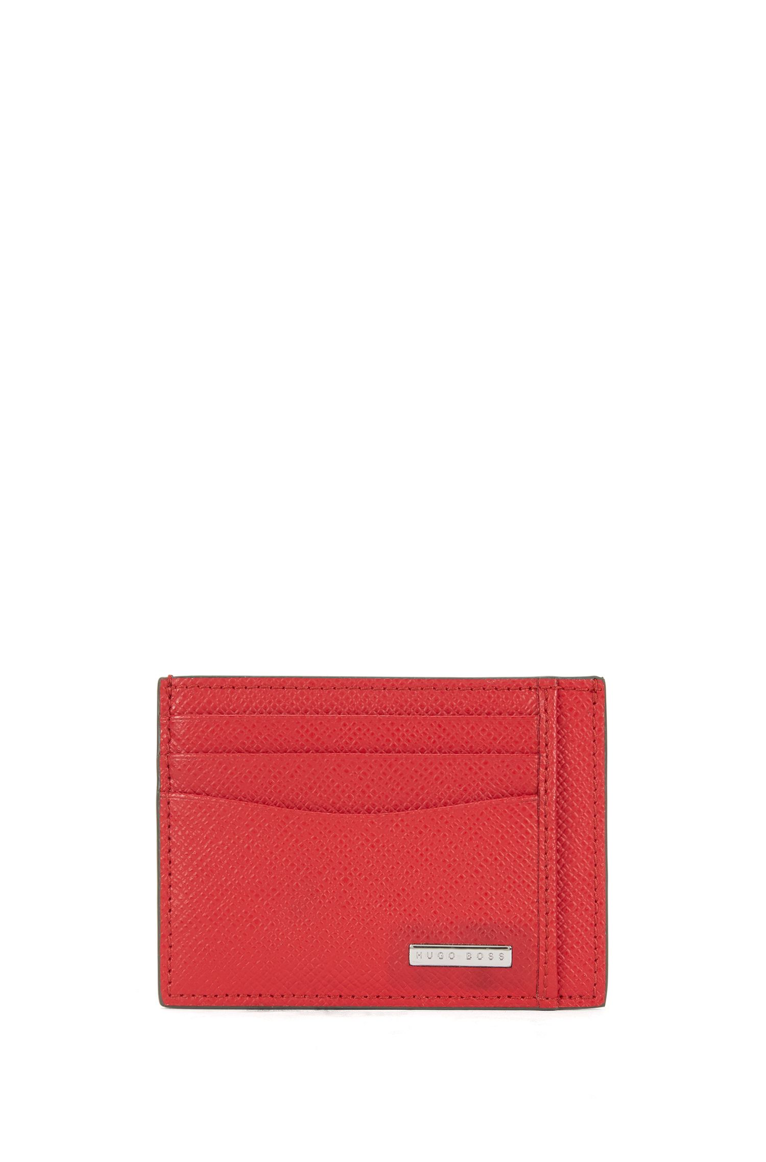 Palmellato-Embossed Leather Card Holder | Signature S Card N, Red