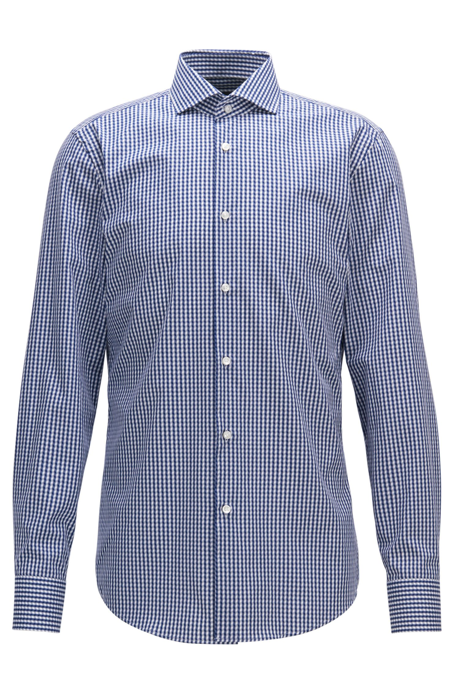 Irregular Gingham Cotton Dress Shirt, Slim Fit | Jason