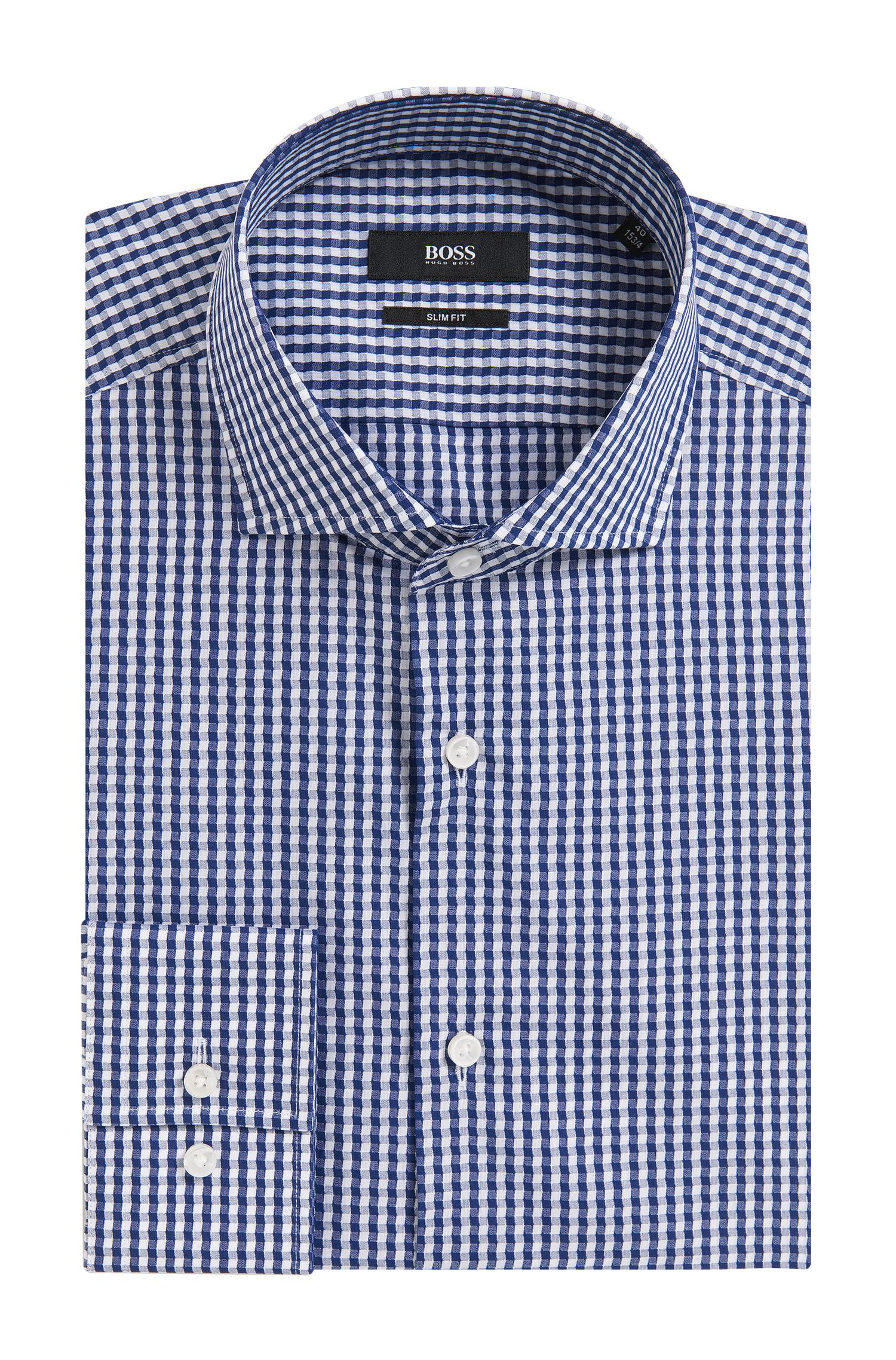 Irregular Gingham Cotton Dress Shirt, Slim Fit | Jason, Dark Blue