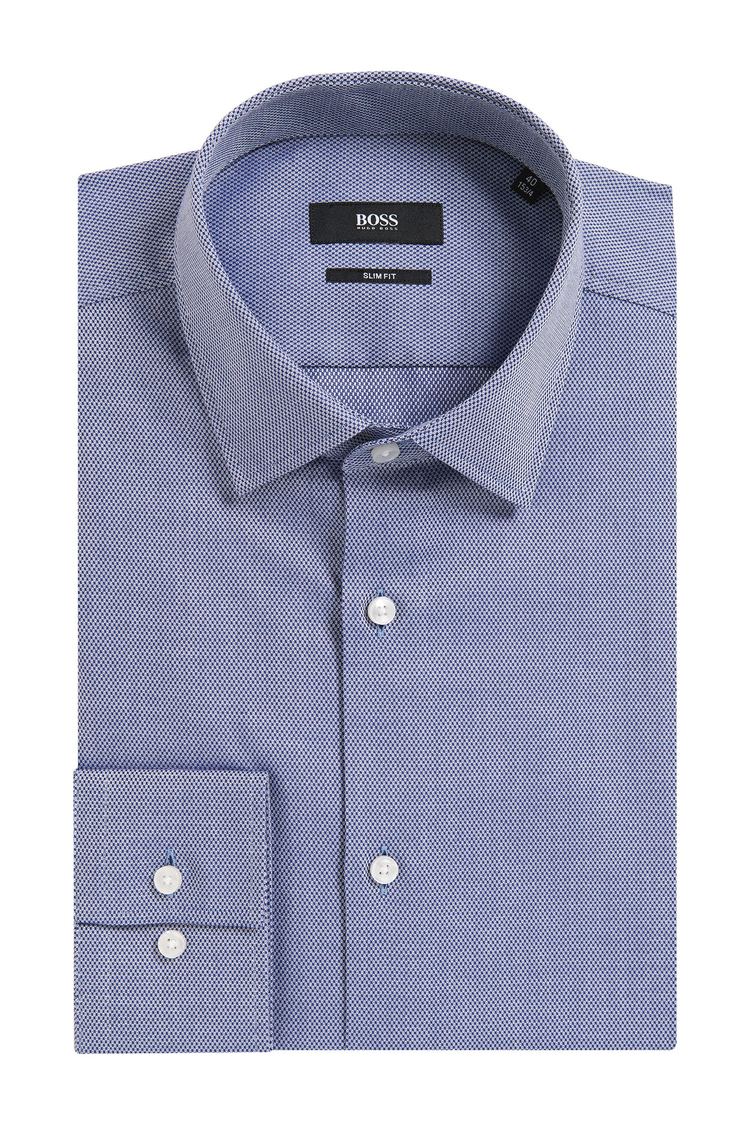 Birdseye Cotton Dress Shirt, Slim Fit | Jenno, Dark Blue