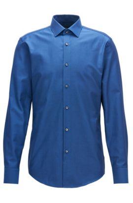 Birdseye Cotton Dress Shirt, Slim Fit | Jenno, Dark Blue