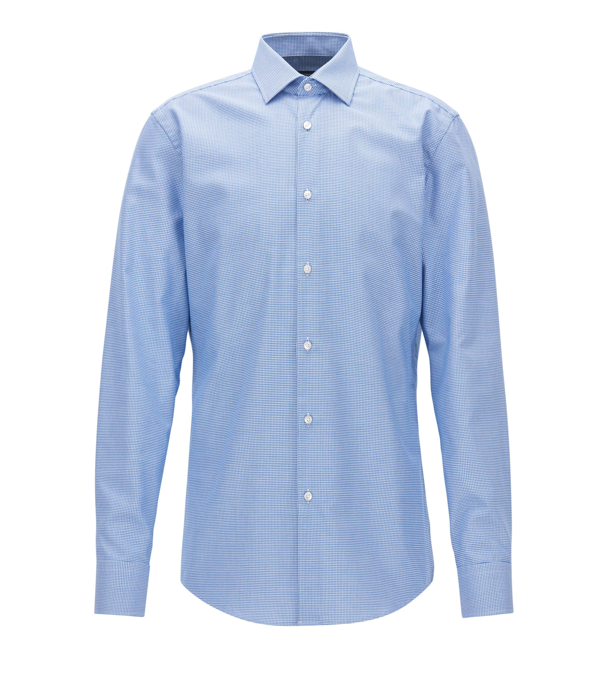 Puppytooth Cotton Dress Shirt, Slim Fit | Jenno, Blue