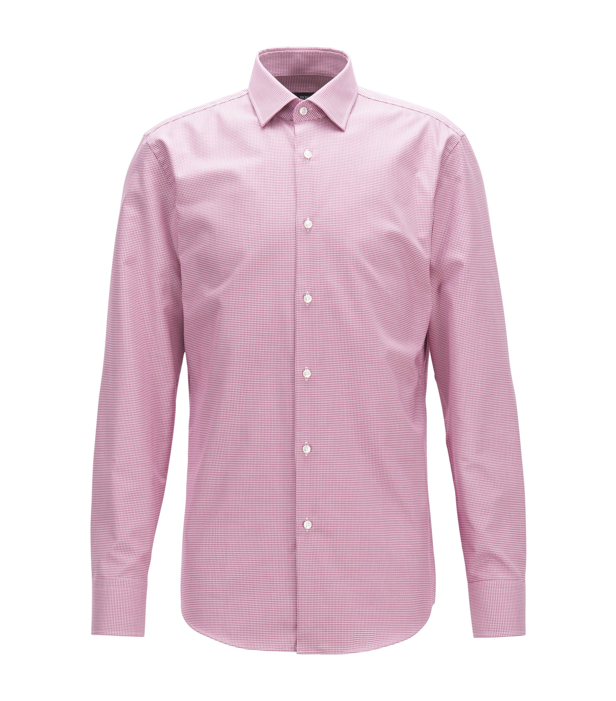Puppytooth Cotton Dress Shirt, Slim Fit | Jenno, Dark pink