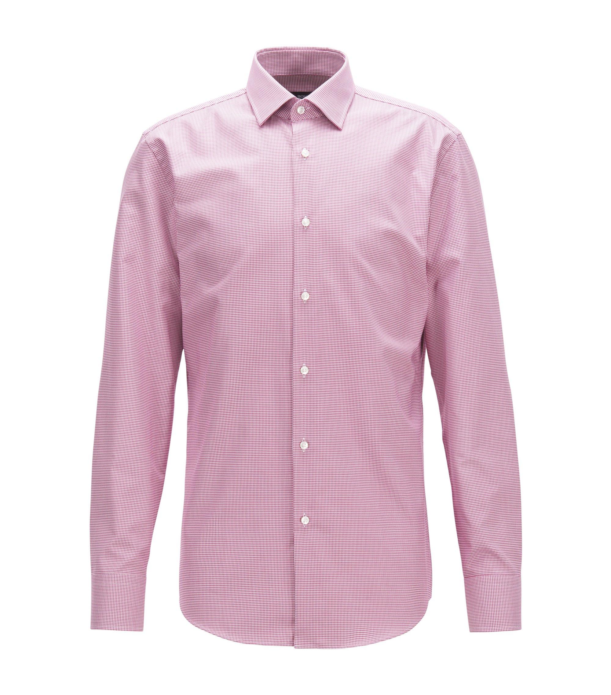 Puppytooth Cotton Dress Shirt, Slim Fit | Jenno, Dark pink
