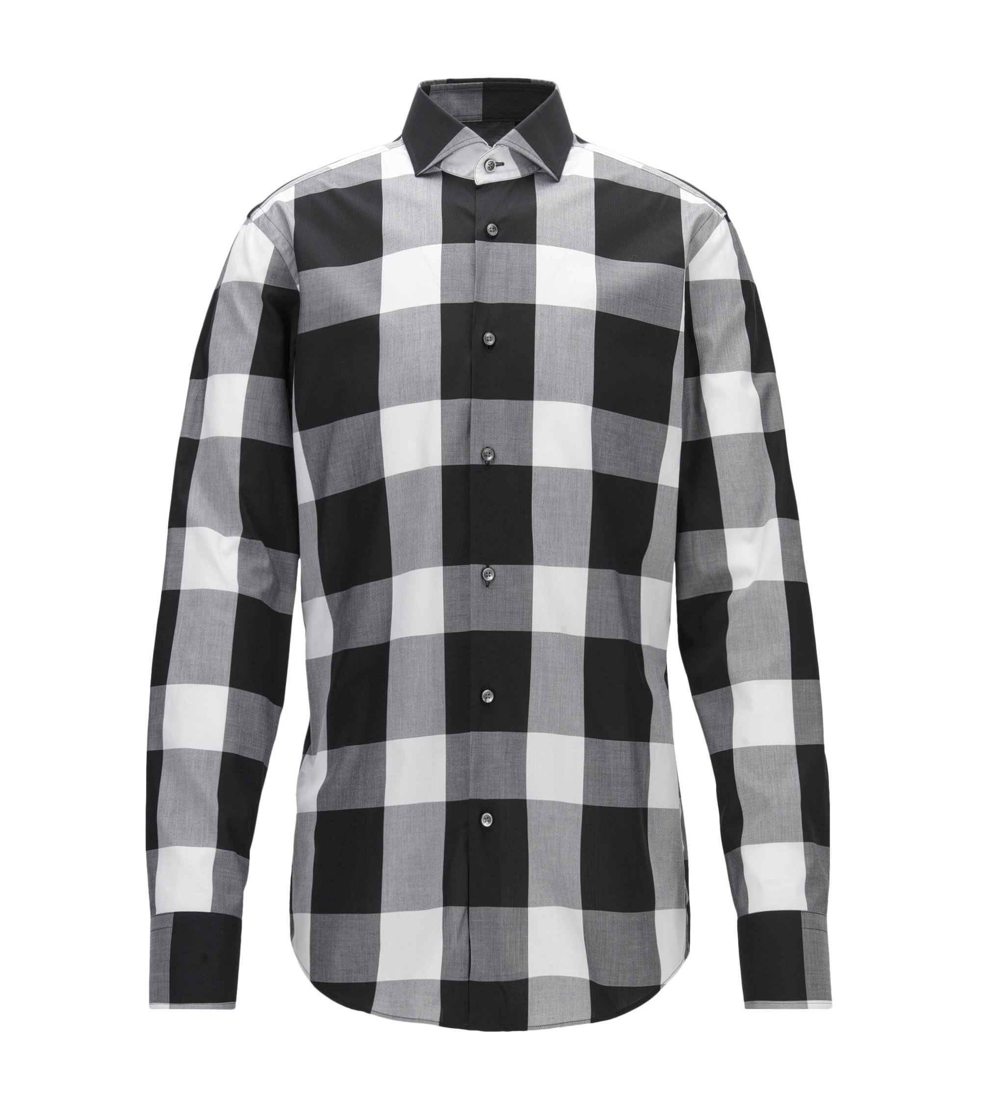Buffalo Check Cotton Dress Shirt, Slim Fit | Jason, Black