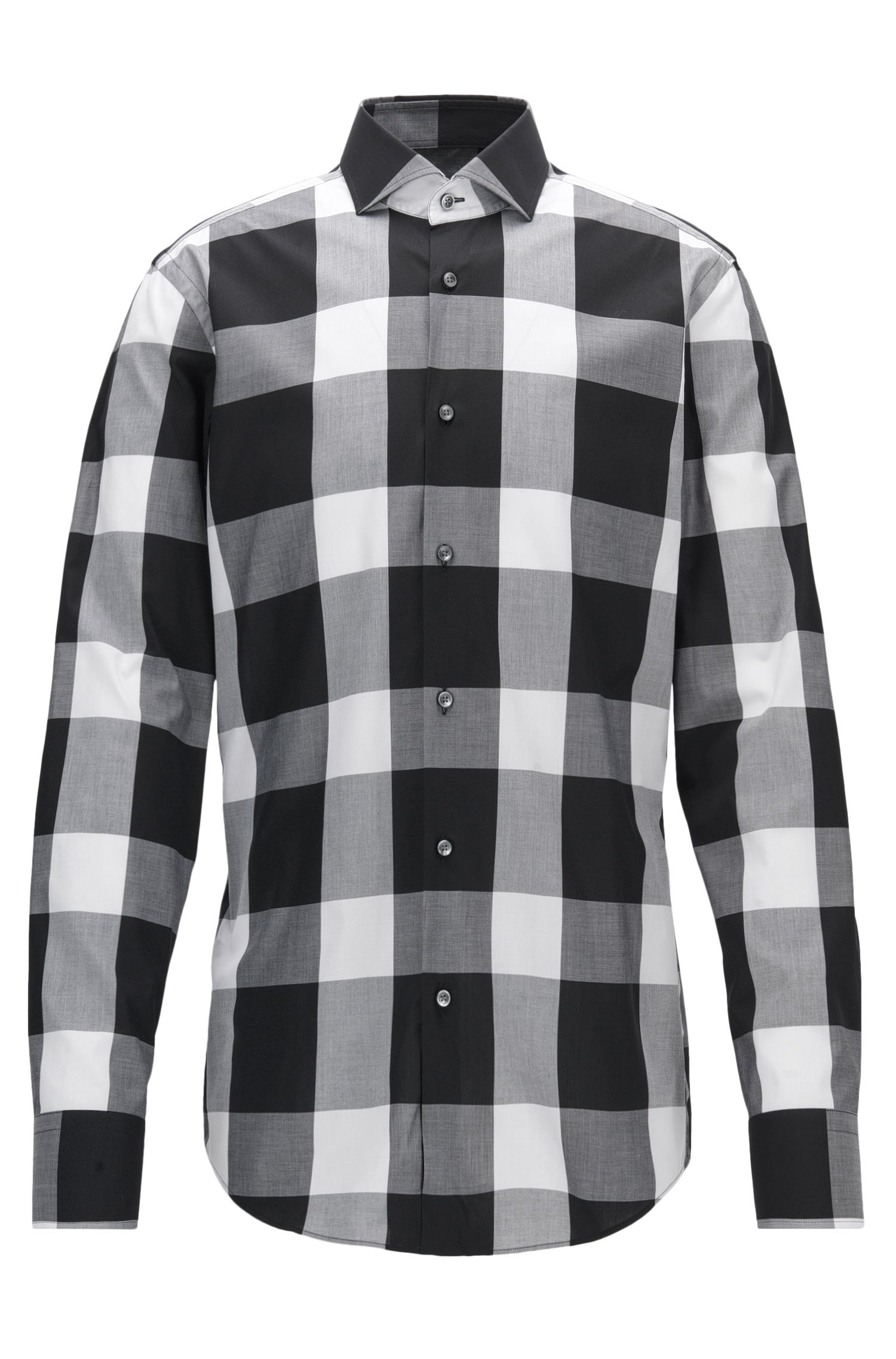 Buffalo Check Cotton Dress Shirt, Slim Fit | Jason