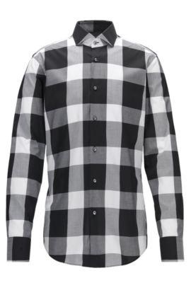 Buffalo Check Cotton Dress Shirt, Slim Fit | Jason, Black