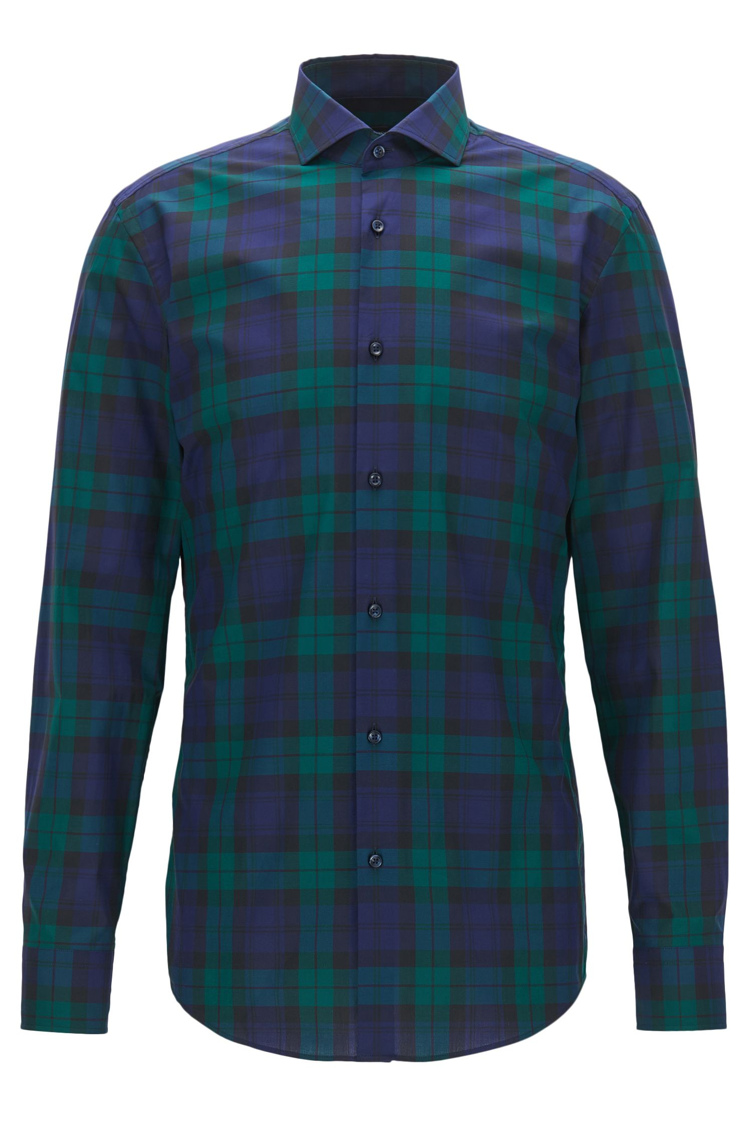 Black Watch Plaid Cotton Dress Shirt, Slim Fit | Jason
