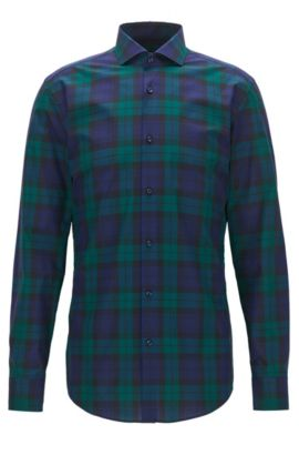 Black Watch Plaid Cotton Dress Shirt, Slim Fit | Jason, Open Green
