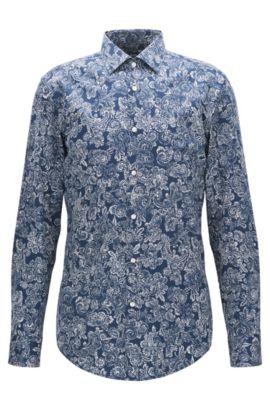 Bandana-Print Cotton Dress Shirt, Slim Fit | Jenno, Dark Blue