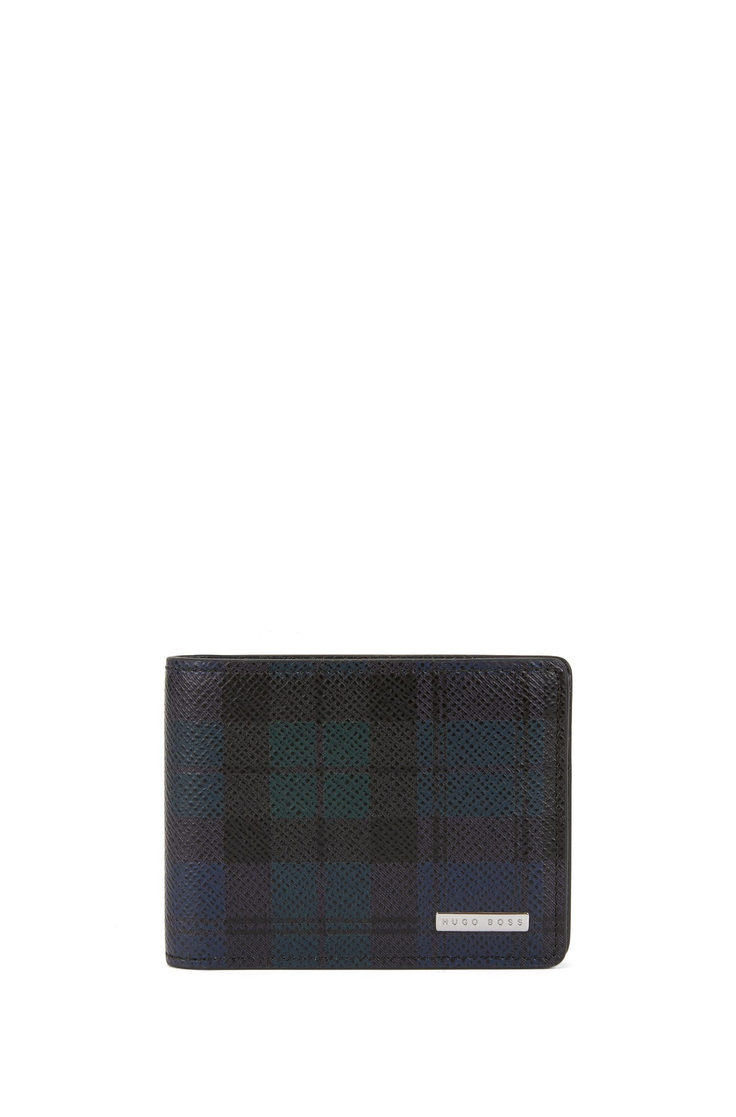 Black Watch Leather Billfold Wallet | Signature BW 6 cc, Patterned