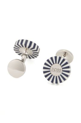 Poker Chip Brass Cufflinks | Willy, Dark Blue