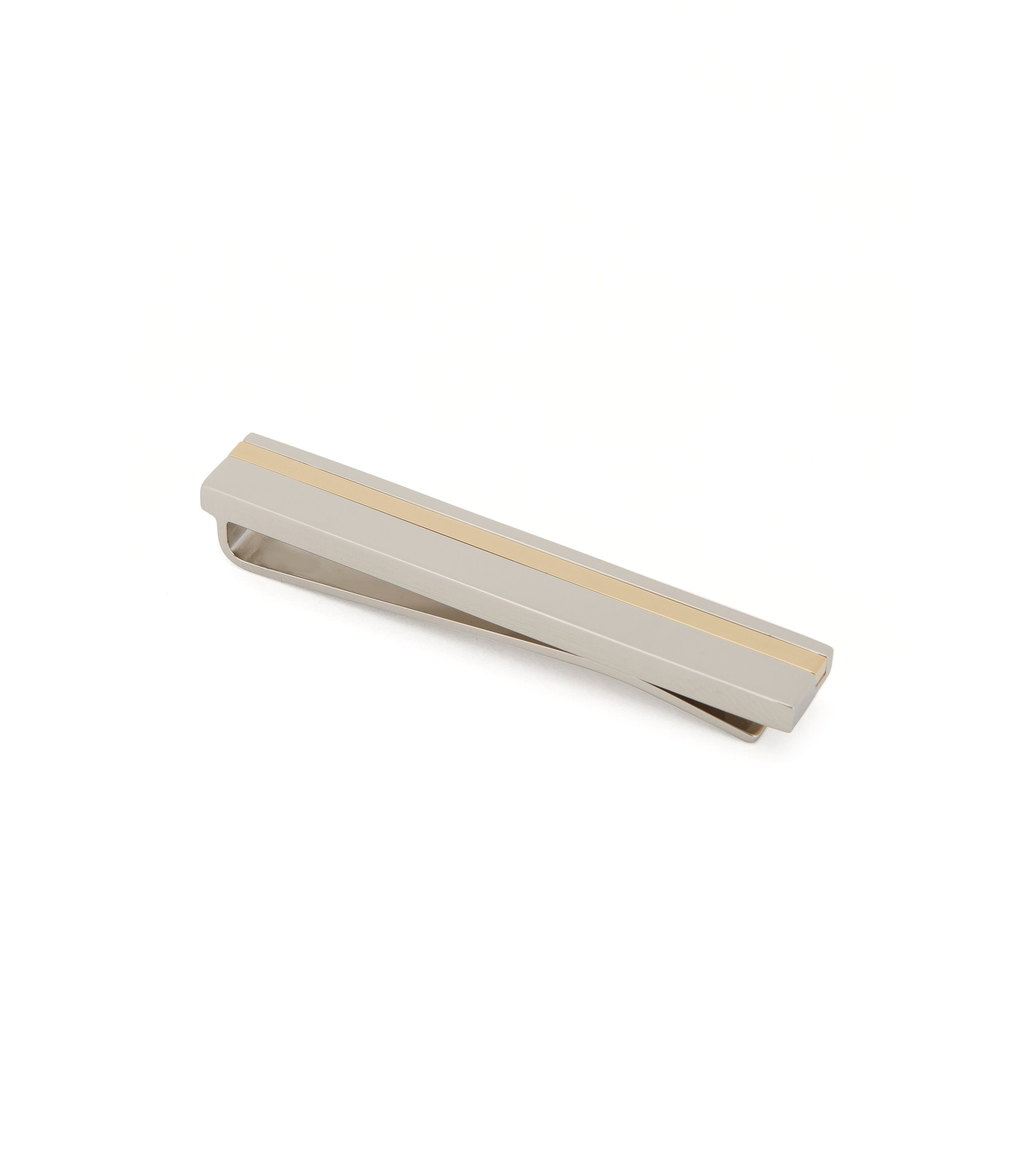Striped Brass Tie Bar | Tick, Silver