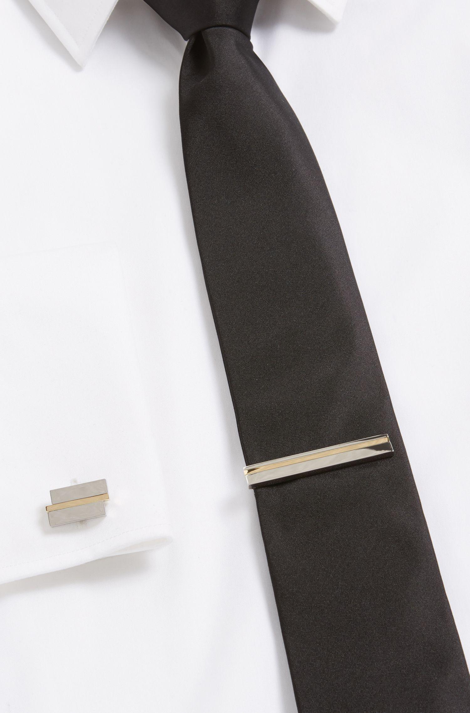 Striped Brass Tie Bar | Tick, Silver