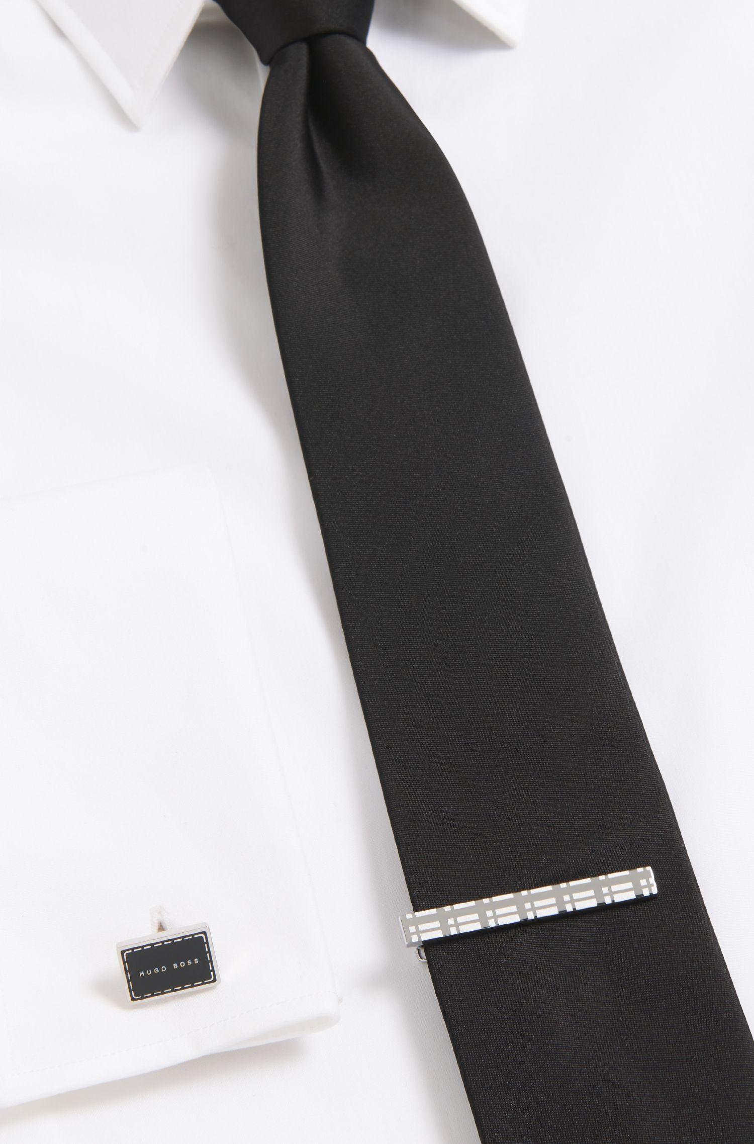 Plaid Brass Tie Clip | Teddy
