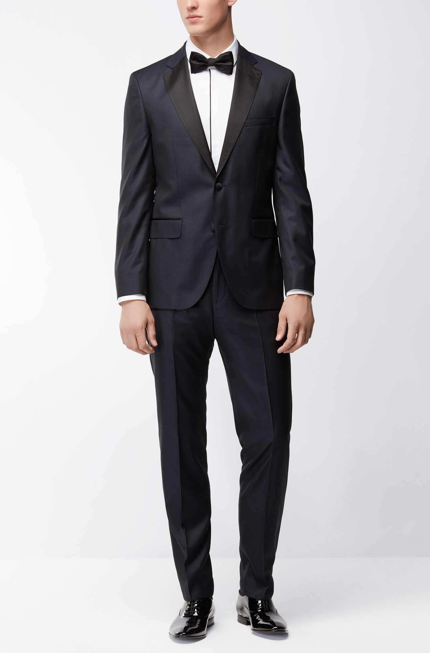 Tonal Plaid Virgin Wool-Silk Tuxedo, Regular Fit | Jelvan/Livan