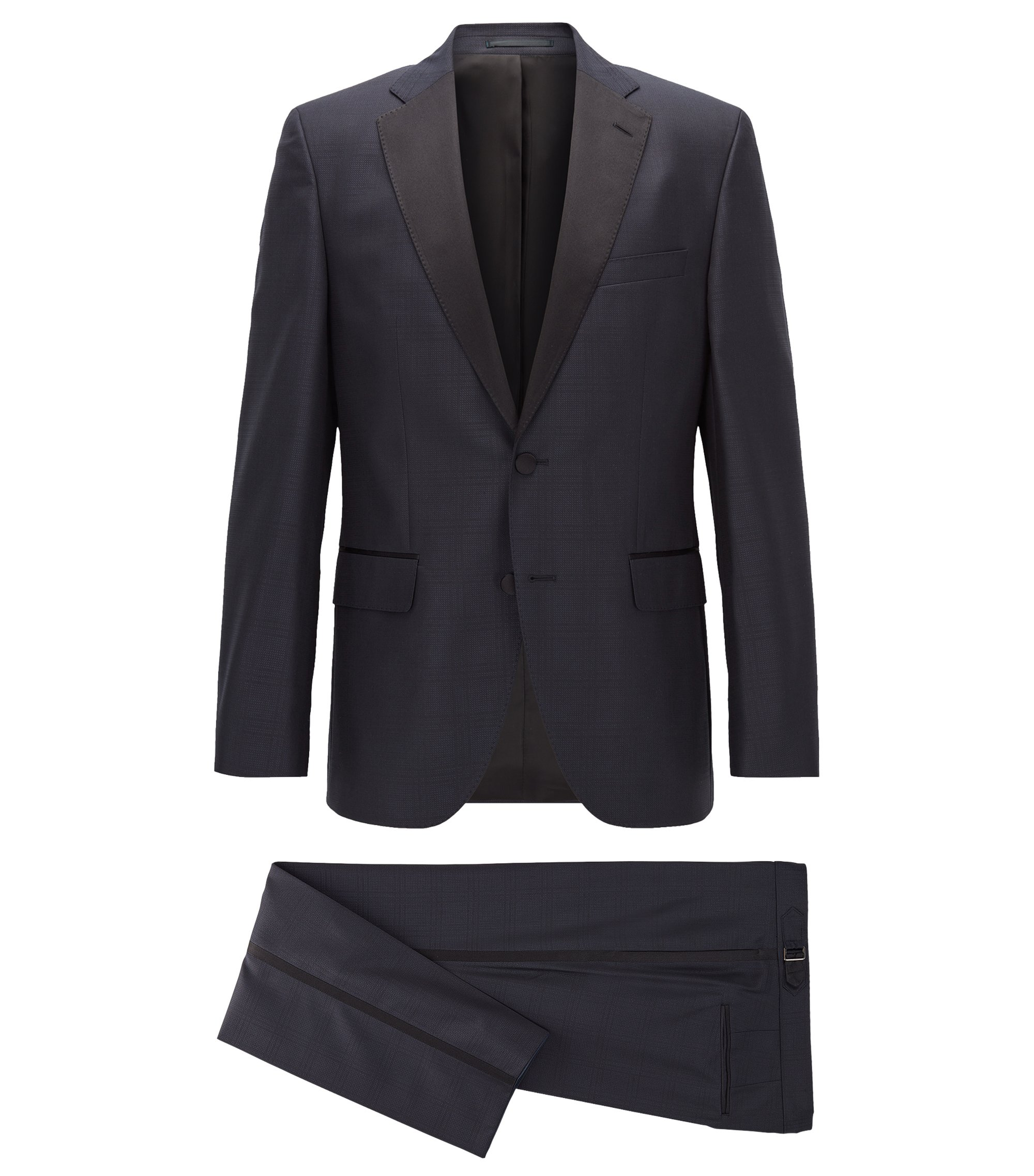 Tonal Plaid Virgin Wool-Silk Tuxedo, Regular Fit | Jelvan/Livan, Dark Blue