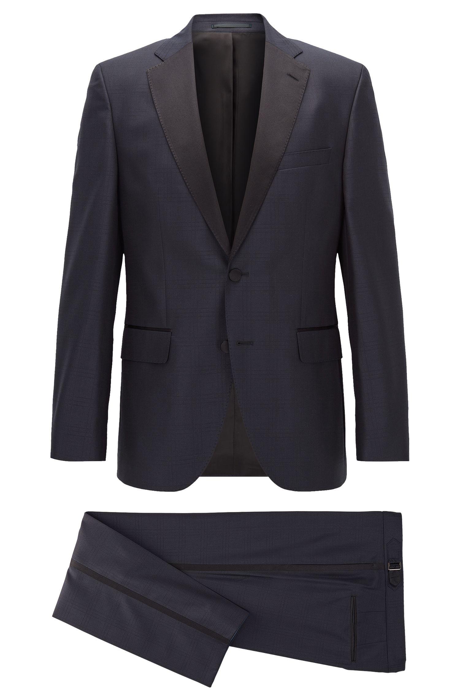 Tonal Plaid Virgin Wool-Silk Tuxedo, Regular Fit | Jelvan/Livan