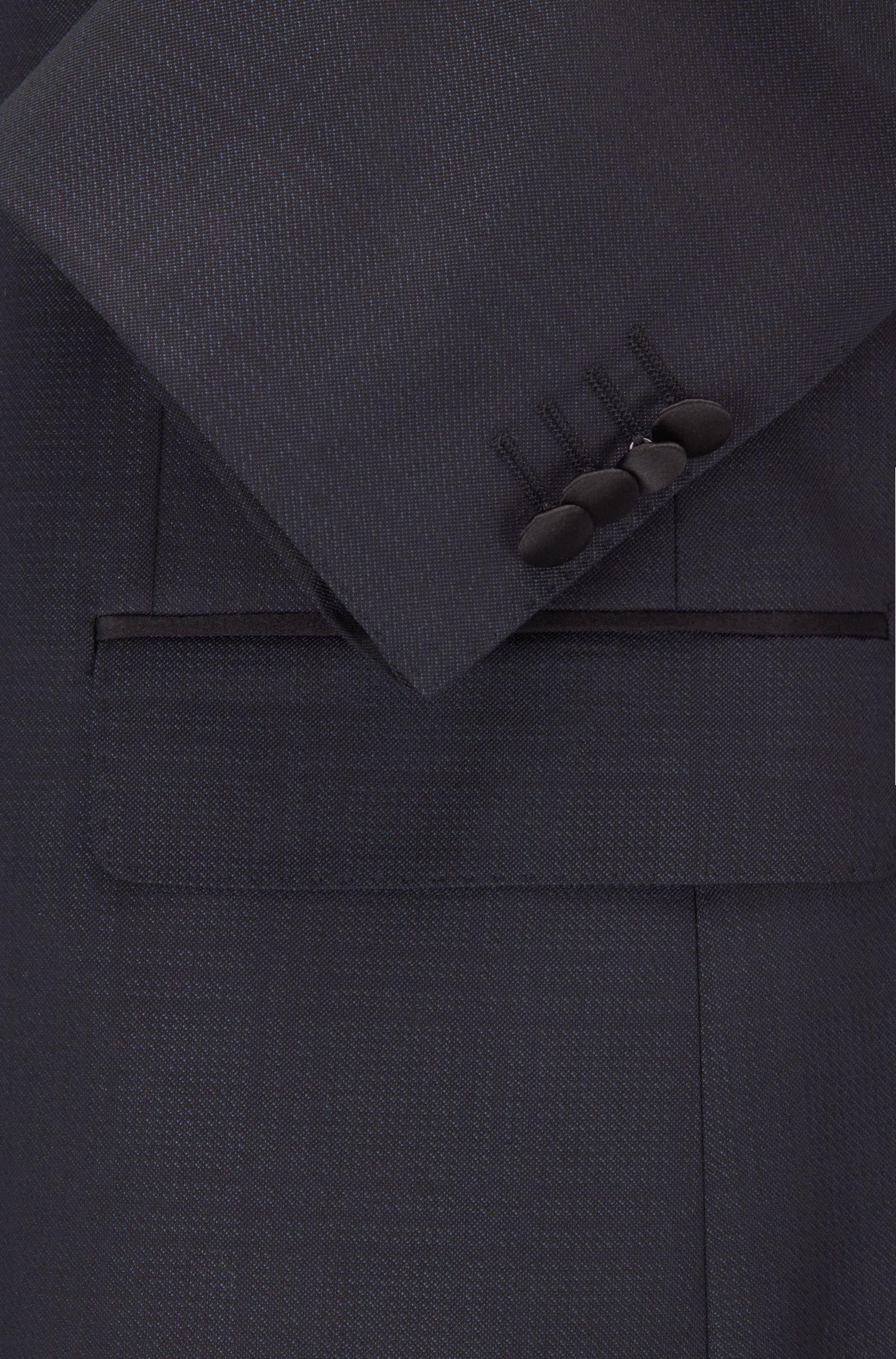Tonal Plaid Virgin Wool-Silk Tuxedo, Regular Fit | Jelvan/Livan, Dark Blue