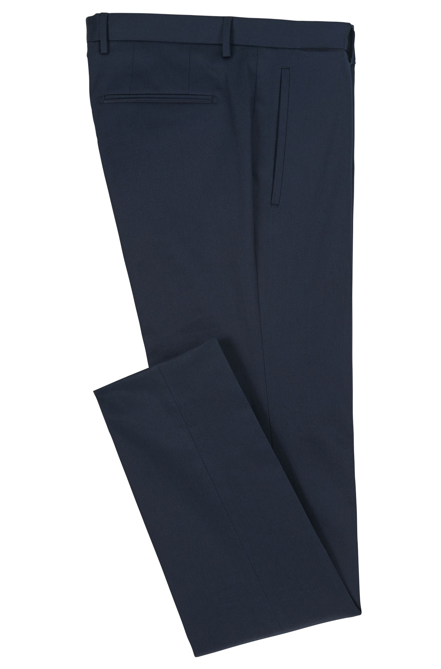 Stretch Cotton Dress Pant, Slim Fit | T-Blaine, Dark Blue