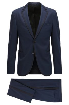 Stretch Tailoring Jersey Tuxedo, Slim Fit | Novan/Ben, Dark Blue
