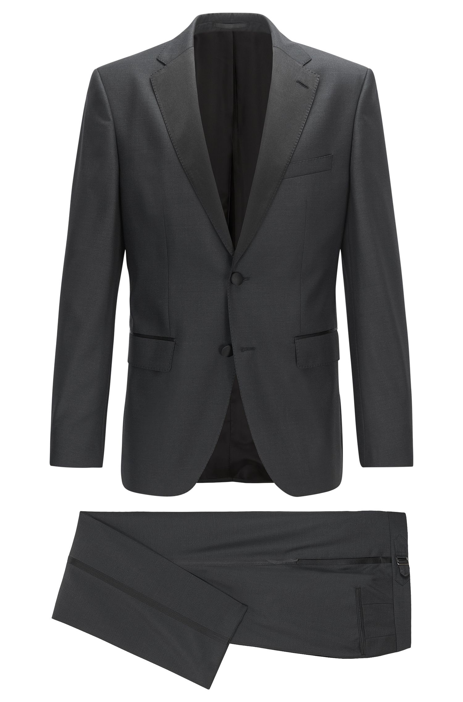 Virgin Wool-Silk Tuxedo, Regular Fit | Jelvan/Livan, Black