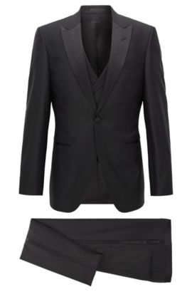 Italian Super 100 Wool Tuxedo, Slim Fit | T-Hardon/Glore WE, Black