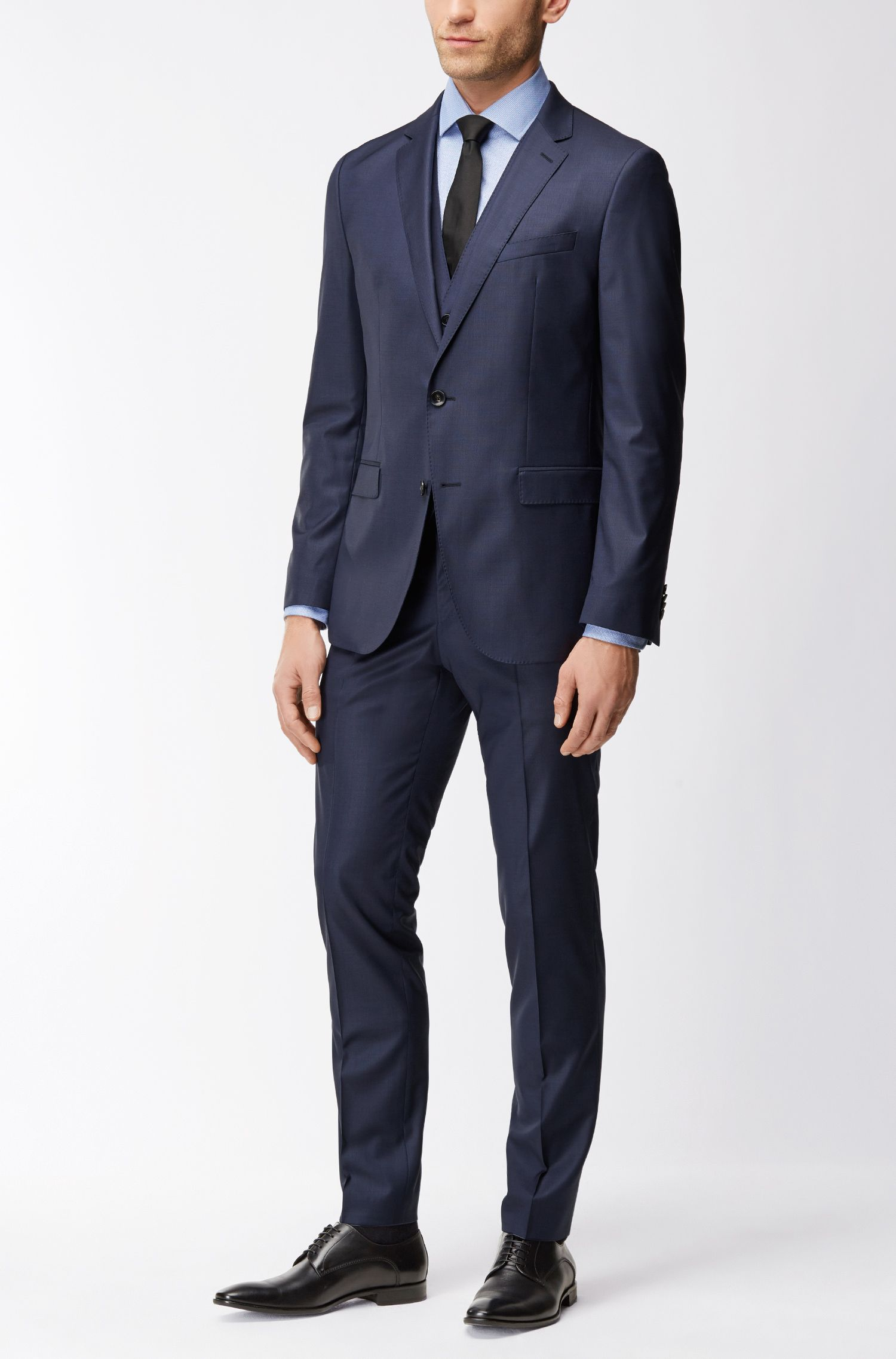 Stretch Tailoring Italian Wool-Silk 3-Piece Suit, Slim Fit | Novan/Ben WE, Dark Blue