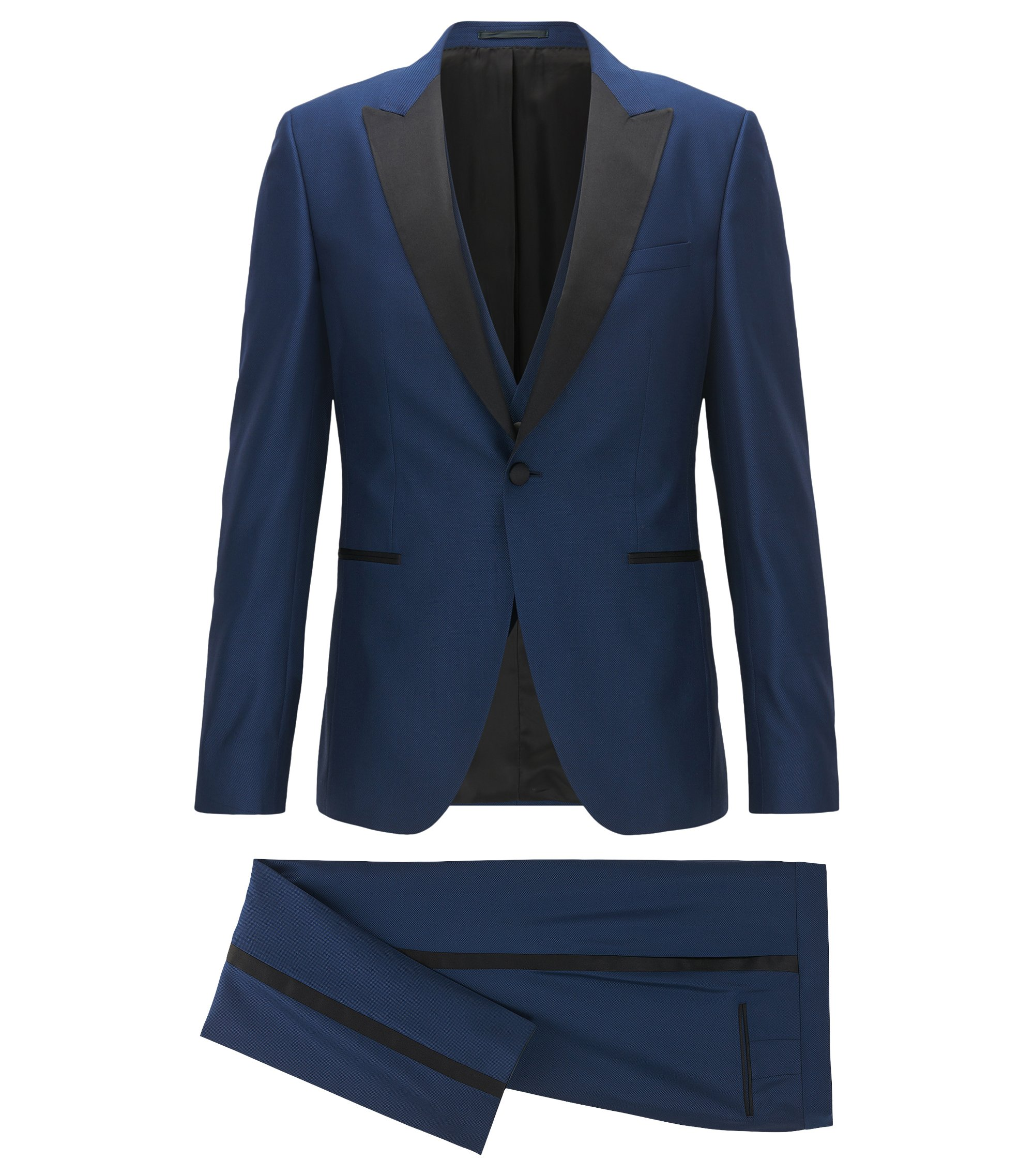 Stretch Wool 3-Piece Tuxedo, Extra Slim Fit | Rendal/Wilden WE, Dark Blue